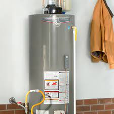 Pictured is a standard upright water heater.